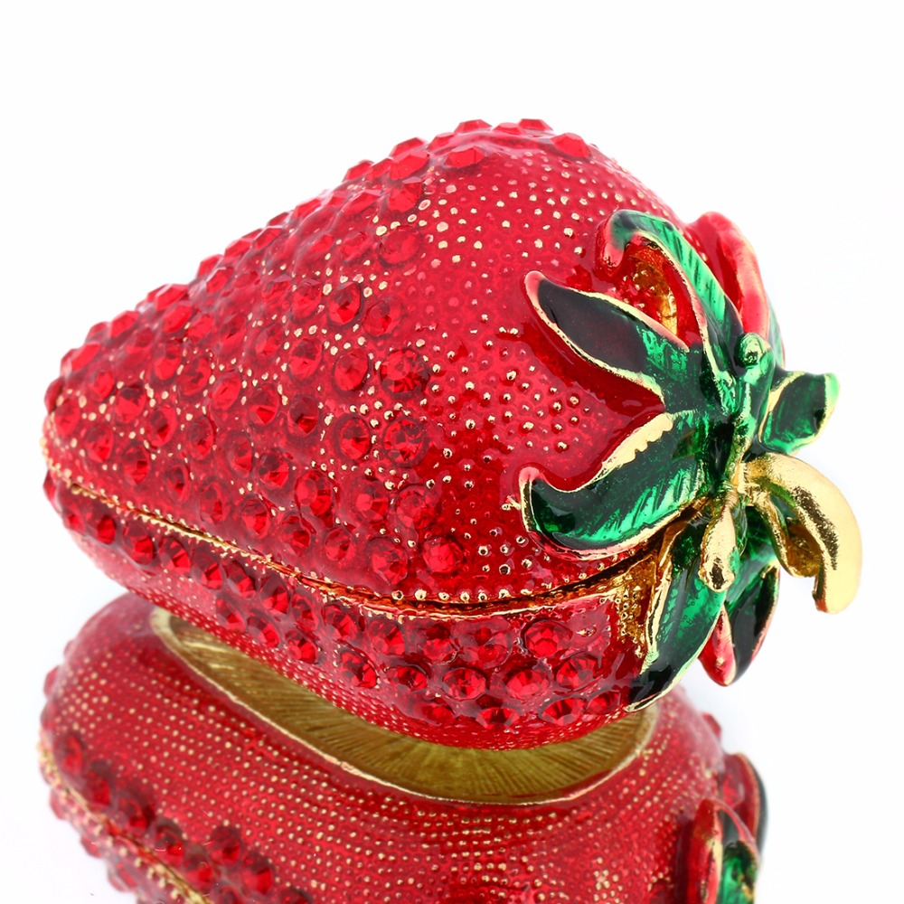 2.4*1.6IN Metal Strawberry Trinket Box Earring Ring Storage Case Miniatures Figurine Souvenirs DIY Crafts Birthday Gift Decor