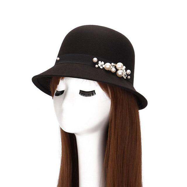 Primavera Verão das Mulheres chapéu de Feltro Feltro Bowler Chapéus Na Moda  Lã Artificial Princesa Caps 77ccd89b426