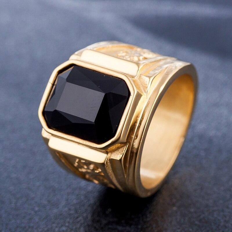 J K Mens Signet Rings Gold Ring Stainless Steel Engraved Dragon