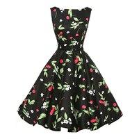Vintage Dresses Women Cherry Floral Black Retro Elegant Plus Size Dress 1950 S 60s Short Casual