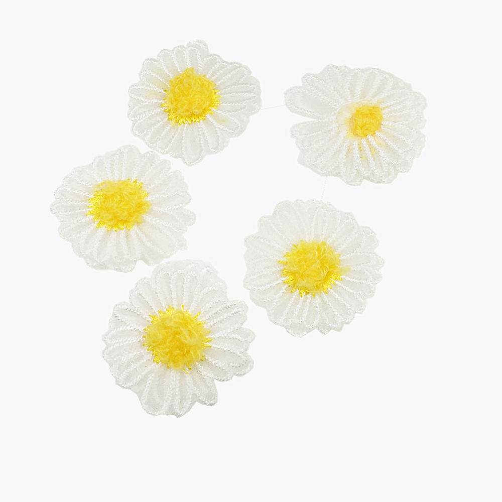 20pc White Daisy Flower Embroidery Patch Flowers Embroidered