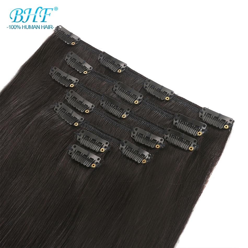 BHF Clip In Human Hair Extensions 100G 140G 160G 200G Machine Made Remy 100% European Straight Natural Hair Clip Ins