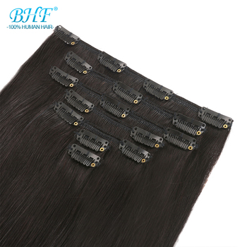 BHF Clip In Human Hair Extensions 100G 140G 160G 200G Machine Made Remy 100% European Straight Natural Hair Clip ins