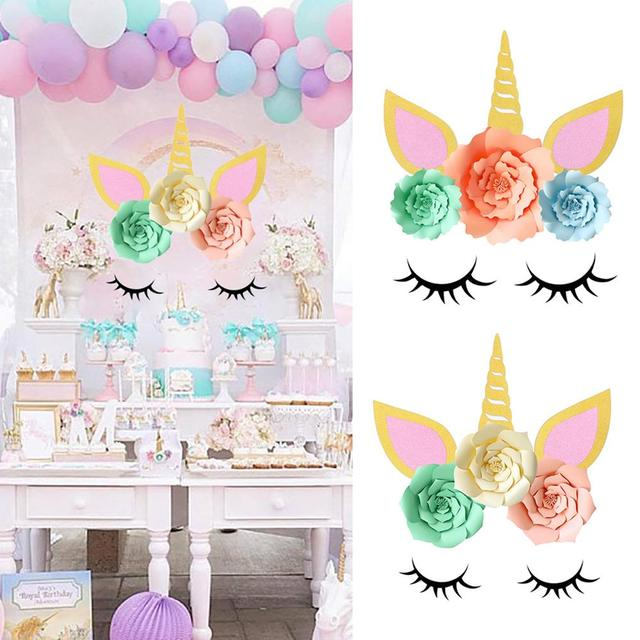 1 Pack Birthday Party Paper Backdrop DIY Decoration Unicorn Theme Supplies For Baby Shower Kids
