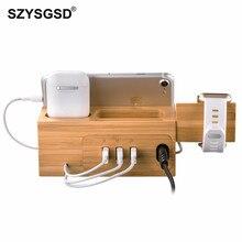 Soporte de cargador de madera Natural SZYSGSD para iPhone XR XS, base de carga para Apple watch, estación de carga para Apple Airpods Pro