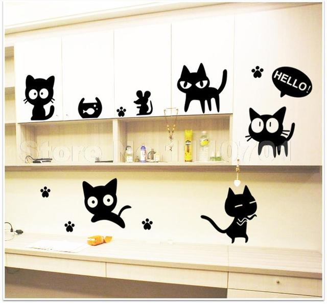 Cartoon black cat cute DIY Vinyl Wall Stickers For Kids Rooms Home Decor Art Decals 3D Wallpaper decoration adesivo de parede