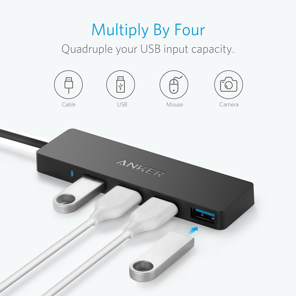 Image 3 - Anker 4 Port USB 3.0 Ultra Slim Data Hub for Macbook, Mac  Pro/mini, iMac, Surface Pro, XPS, Notebook PC, USB Flash Drives etc-in  USB Hubs from Computer