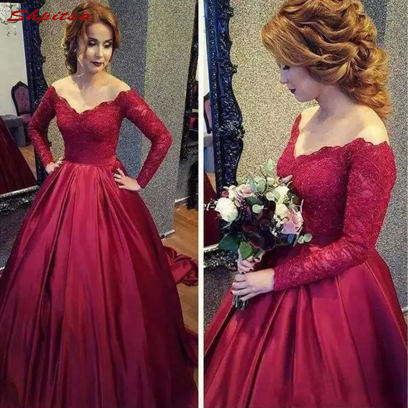Long Sleeve Lace Mother of the Bride Dresses for Weddings Ball Gown Prom Evening Groom Godmother Dinner Dresses 2018