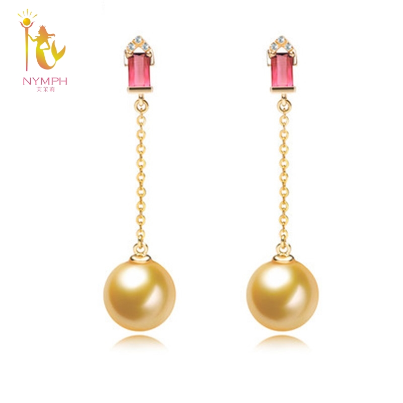 NYMPH 18K Gold Earrings Pearl Jewelry Natural Seawater round Pearl Fine AU750 Drop Earrings Wedding Party For Wome YSED160106 faux pearl pompon round drop earrings