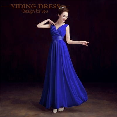 New 2017 Double-Shoulder V-neck Chiffon Solid Simple Long Bridesmaid Dresses Drop Sale