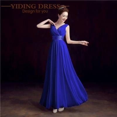 New 2017 Double-Shoulder V-neck Chiffon Solid Simple Long Bridesmaid Dresses Drop Sale