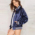 Moda ESFORZARSE más letter print bomber jacket women Invierno Satén de la manga completa solo pecho abrigos de béisbol femenino básico outwear