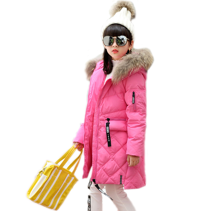 2017 new children's duck down outwear&Coats fur long model warm Girl Down jackets coats Warm big nature collar girls parka down new winter baby girls clothes white duck down parka warm goose down jackets for kid warm long coats big fur hooded for children