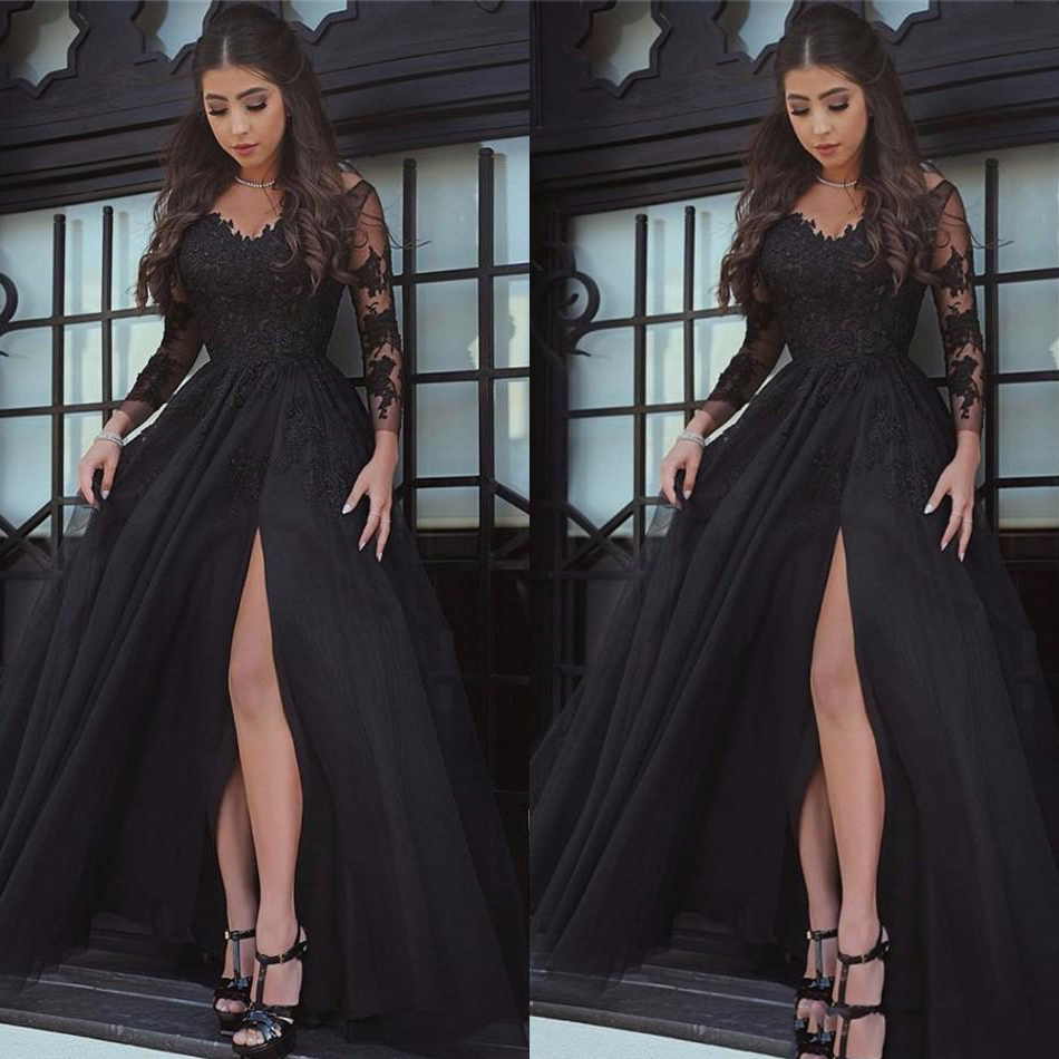 Black Amazing V-neck Long Sleeve   Prom     Dresses   Appliques Tulle Long Formal   Prom   Gowns Robe De Bal Party Evening   Dresses