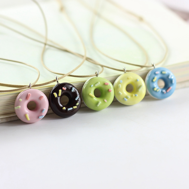 Fashion Cute Lovely Donuts Fresh Ceramic Pendant Necklace For Students Girls Best Friends Handmade Resin Charm Jewelry Gift