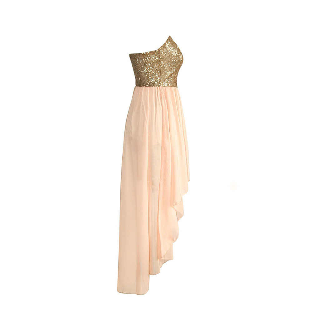 9ea9e17f11 Champagne Sequined Maxi Chiffon Prom Party Dresses A Line Strapless  Sleeveless Club Cute Slim Fashion Summer Dress For Gir