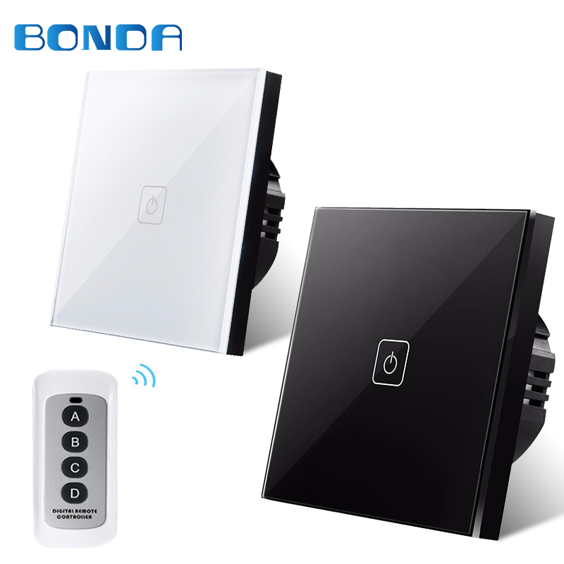 EU Type Bonda Wall Switch 1 Gang 1 Way Wireless Remote Control Light Switch, LED Indicator For RF433 Smart Home Touch Switch