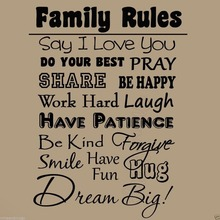 Free Shipping Quotes Family rules Wall Stickers Home Decoration Decals Removable PVC Vinyl decals BF-8 size  57x75cm