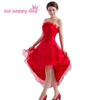 Bez ramiączek lace up powrót suknia balowa czerwony wysoki niski prom suknie poniżej 100 krótki przód długi powrót rękawów specjalne okazje W1031