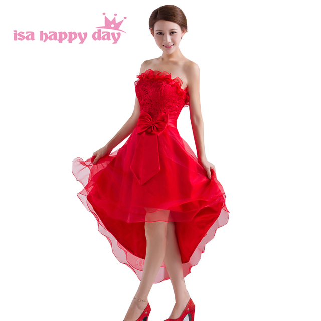 6c7c89df8e18b8 strapless lace up back ball gown red high low prom dresses under 100 short  front long back sleeveless special occasion W1031