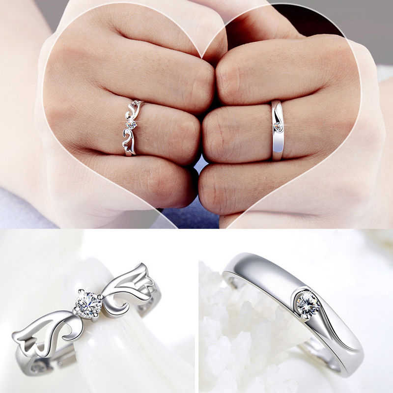 932d155a28 2Pcs/set Adjustable Wedding Rings Angel Wings Micro Pave Zircon Rings  Couple Ring Her and