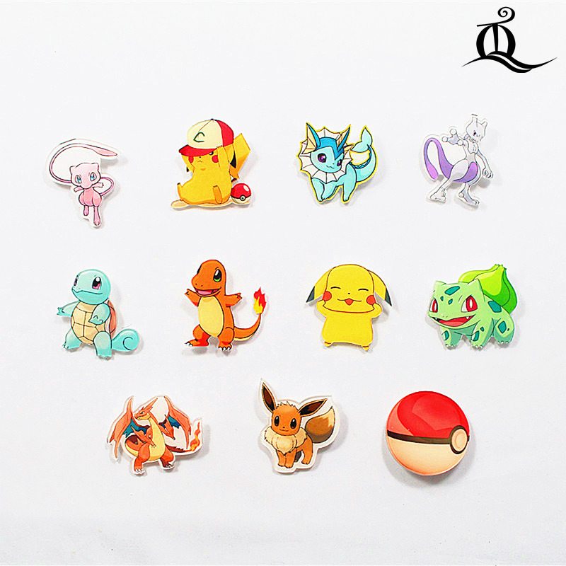 free shipping 1pcs lovely mix acrylic pokemon accessories fashion