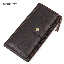 WERICHEST New Top Genuine Cowhide Leather Wallet  High Quality Men Long Wallet Coin Purse Vintage Designer Male Carteira Wallets new arrival luxury brand high quality 100% top genuine oil wax cowhide leather women bifold wallet purse vintage designer
