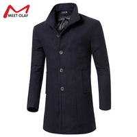 Wool Coat Men Casual Overcoat Winter And Autumn Jacket Male Fashion Solid Long Trench Parkas Thick Warm Slim Fit Outwear YL2287