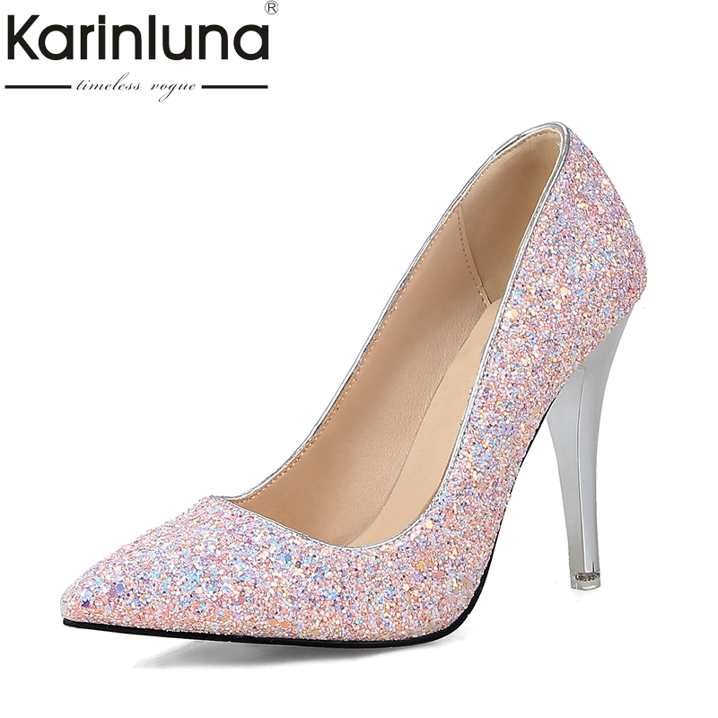 KARINLUNA New Plus Sizes 34-43 Spring Autumn Party Shoes Women Black White Pink Sexy Thin High Heels Fanshion Pumps