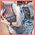 2015 Summer Casual Mens Cotton Slim Rivet Patchwork Blue Denim Vest , Korean Style Jean jacket , Man Fashion Coats For Men