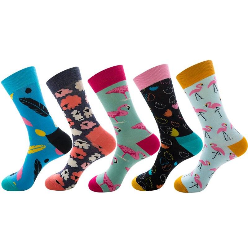 Цвет Экипажа Хлопка Счастливые Носки Мужчины Женщины Британский Стиль Свободного Покроя Harajuku Дизайнерский Бренд Мода Новинка Искусства Для Пары, Удовольствие
