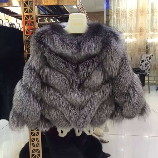 Fashionable Silver Fox Fur jacket high quality russian fur coats ...