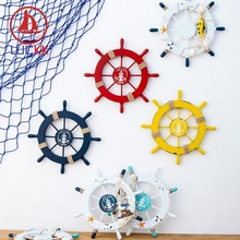 LUCKK 28CM Mediterranean Style Handmade Wall Hanging Ship Rudder Creative Nautical Home Decor Shell Anchor Wood Crafts Souvenirs