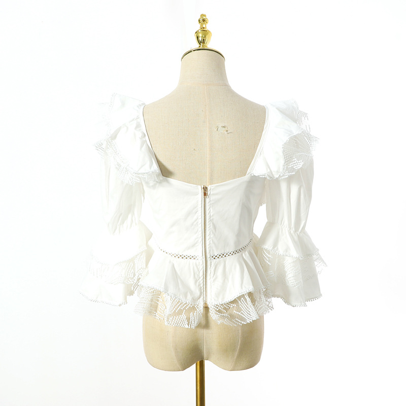 2019 sans bretelles Sexy Blouse femmes dentelle volants Patchwork manches bouffantes évider chemise été blanc haut décontracté - 5