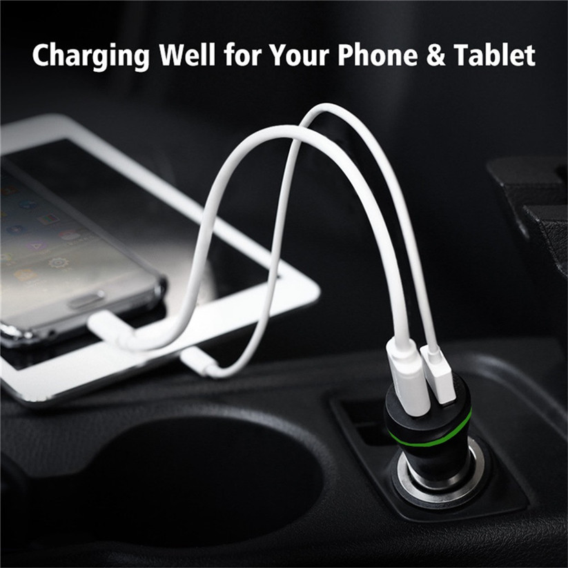 Car-styling kongyide Charger Adapter Side 2 Port Light USB Car Charger Adapters For Iphone 8/8 Plus td1206 dropshipping
