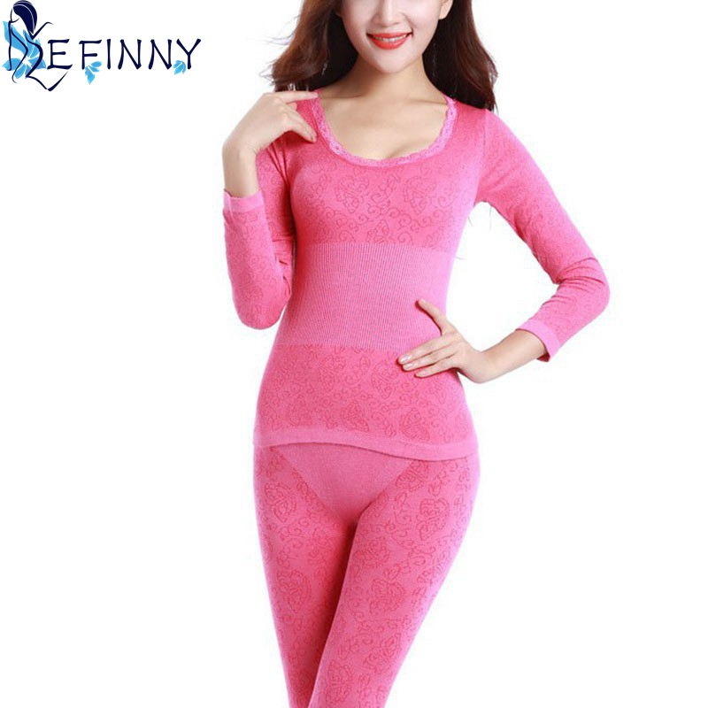 2018 Women Tunic Winter Thermal Underwears New Fashion Seamless Breathable Warm Long Johns Ladies Slim Underwears Sets Bottoming