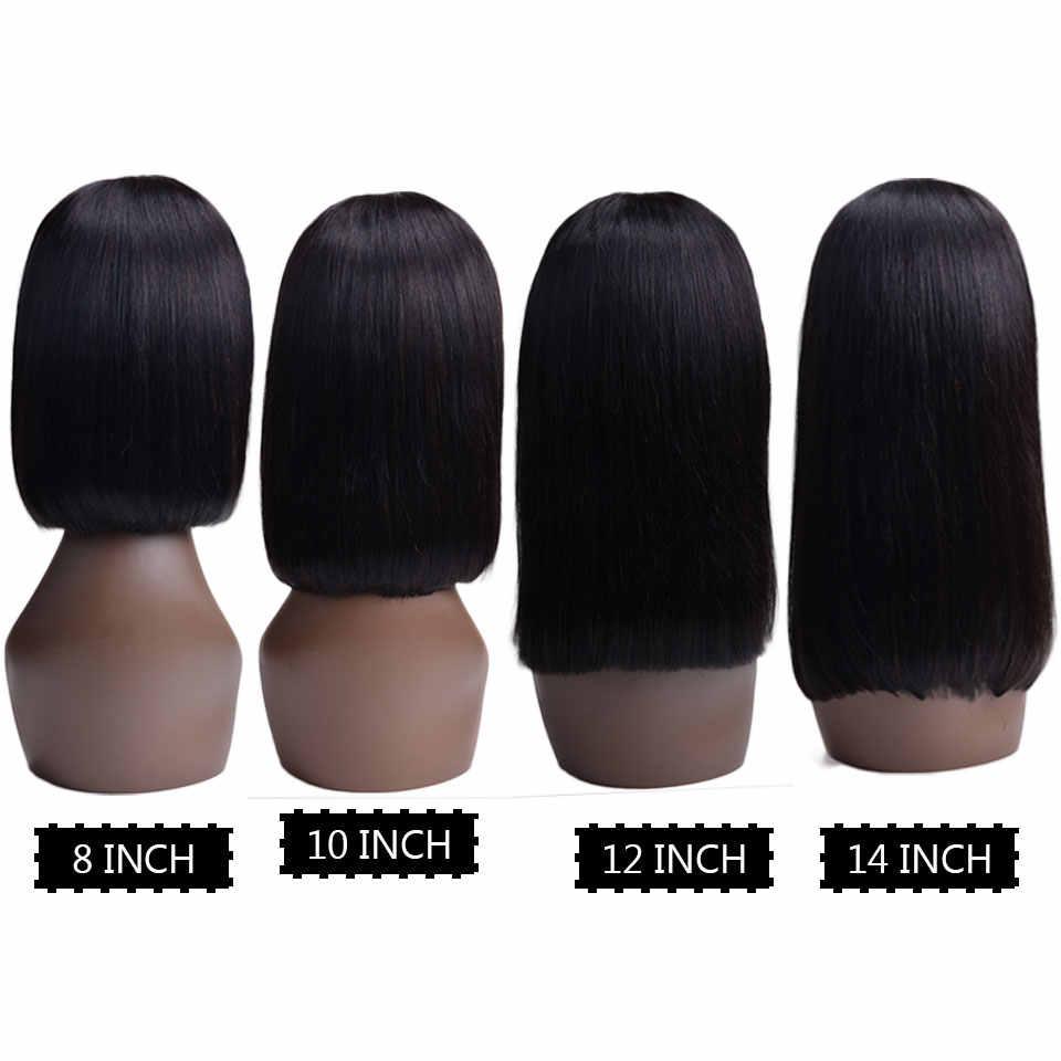 13x4 парики из натуральных волос на фронте шнурка для женщин короткий парик-Боб Remy бразильские волосы боб парики на фронте шнурка предварительно сорванные отбеленные узлы