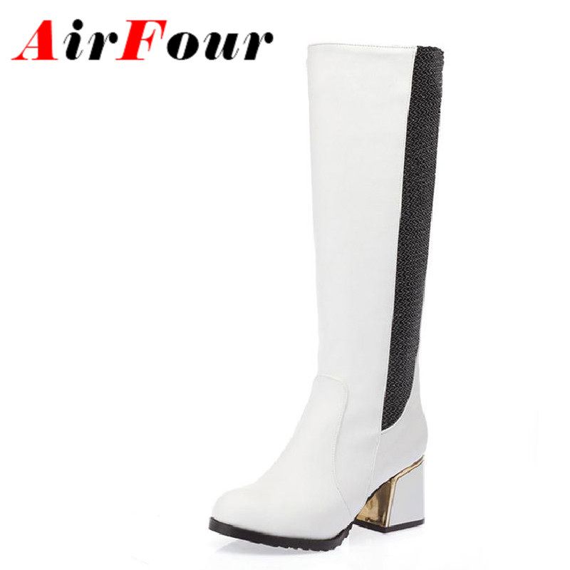 ФОТО Airfour New Thick Heels Motorcycle Boots Women Knee High Boots for Women Buckle Knight Boots Autumn Winter Boots Shoes Platform