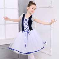 New Romantic Tutu Giselle Swan Lake Ballet Costumes Girls Child Long Tulle Dance Skating Ballerina Dress Puff Sleeve Lace Dress