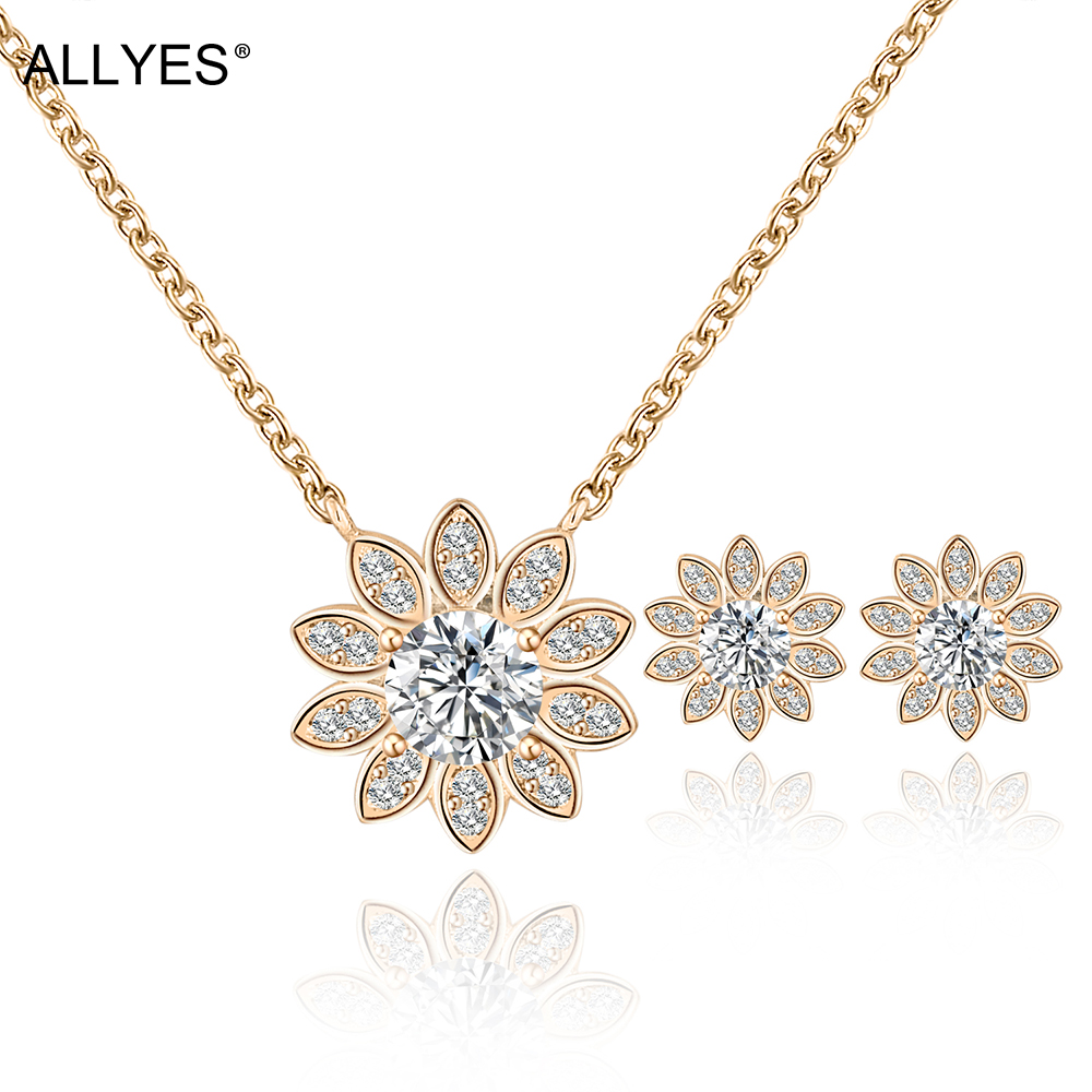 Allyes Cute Gold Color Solitaire Cubic Zirconia Daisy Earrings Necklace Set  Romantic Bijou Plant Bridal Wedding Jewelry Sets