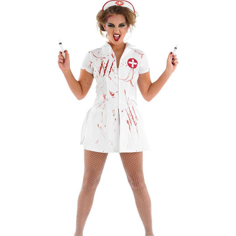 Mulheres Enfermeira Sexy Cosplay Traje Festa de Halloween Vestir Branco Sangue Assustador Role Play Jogos de Zumbi Disfarce Fantasia Vestido Adulto do Sexo Feminino