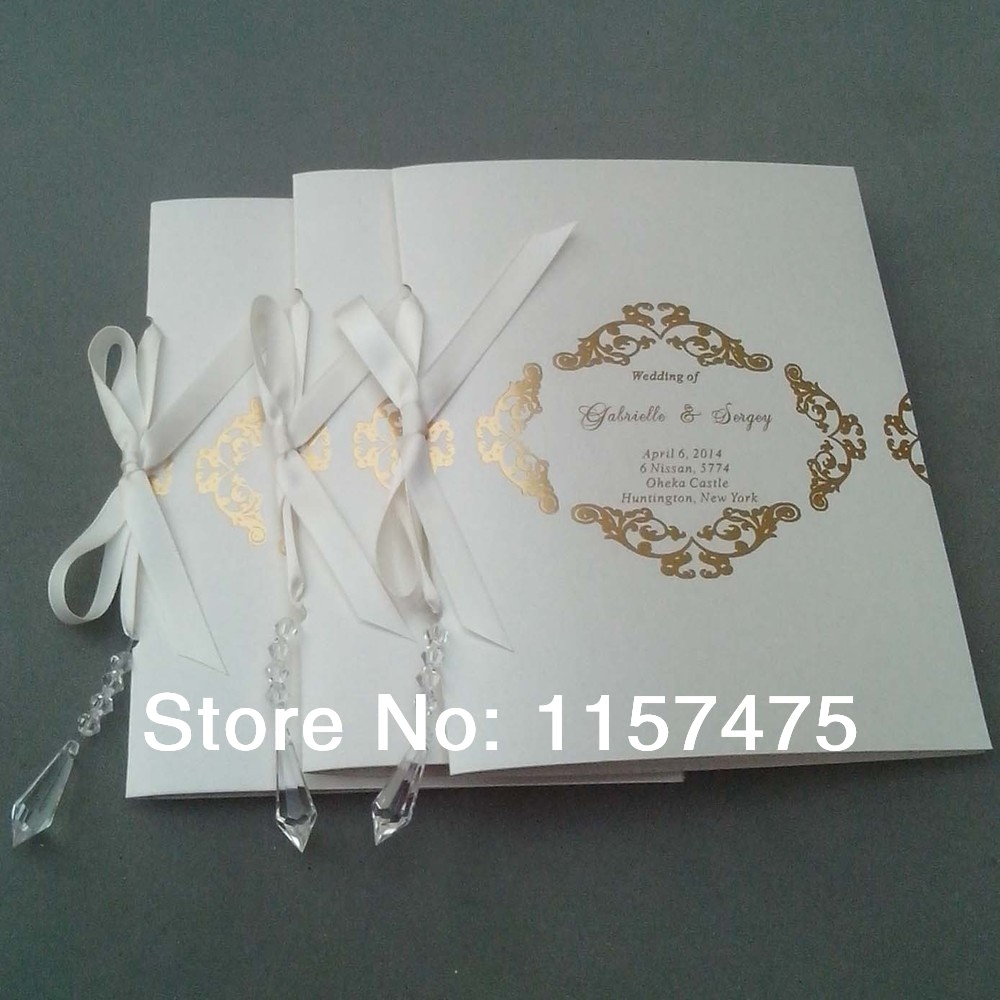 HI9002 Customized Wedding Programs Order of Service with Ribbon-in ...