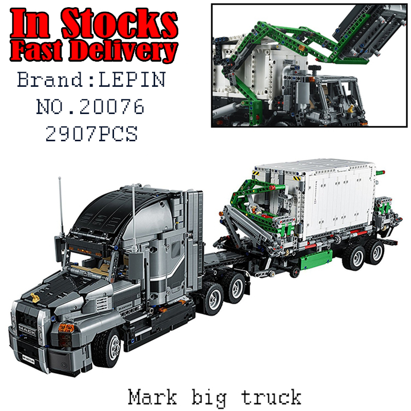 LEPIN Techinc big truck 20076 2907PCS Building Blocks Bricks educational toys for children Christmas gifts brinquedos lepin 20076 technic series the mack big