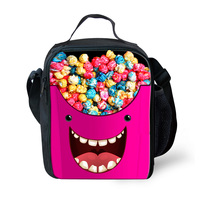 Customized Cute Kids Lunch Bags Thermal Insulated Shoulder Bag Emoji Candy Print Kawaii Children Lancheira Picnic Bag Portable