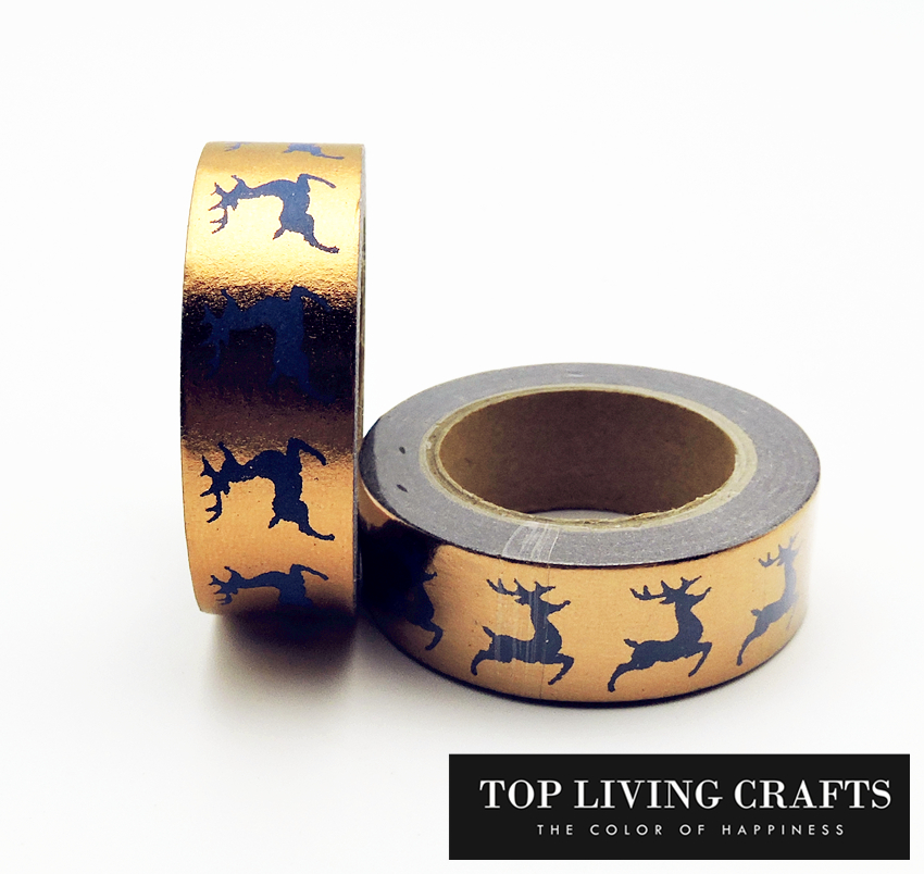 Golden Christmas Foil Washi Tape Japanese Stationery 1.5*10meter Kawaii Masking Tape Adhesiva Decorativa School Tools Halloween