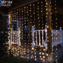 304LED Curtain Icicle String Christmas Fairy Light Garden Wedding Holiday Christmas   Xmas  110V/220V Outdoor Indoor Decoration