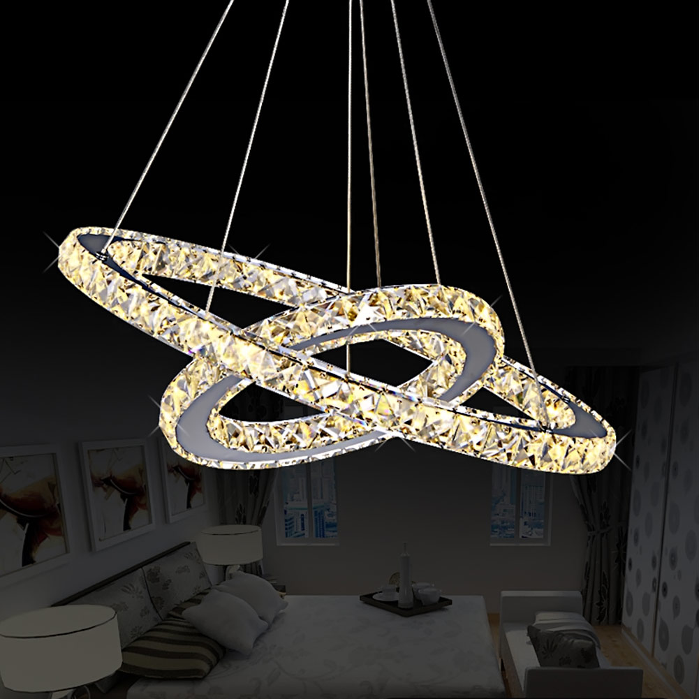 ФОТО Diamond Ring Pendant Crystal Lamp Fixture LED Pendant Light suspension Modern LED Lustres Lighting Circles Lamp