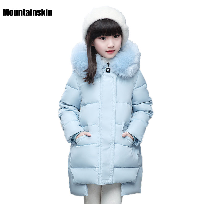 NEW Winter Jackets Girls White Duck Down Parkas Kids Fur Hooded Collar Coats 6-12Y Children's Brand Outerwear Outdoor SC650 new 2017 fashion girls winter coats female child down jackets top quality outerwear medium long thick 90% duck down parkas