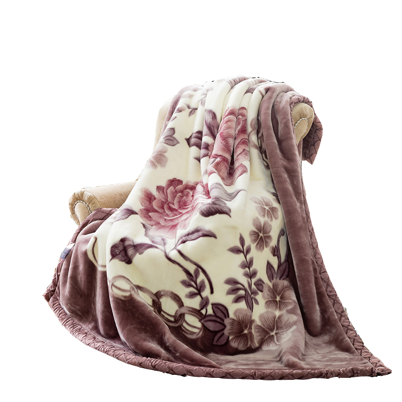 Double Layer Queen Size Fluffy Chunky Large Mink Blanket Super Soft Floral Printed Raschel Throw Thick Warm Faux Fur Bed Blanket