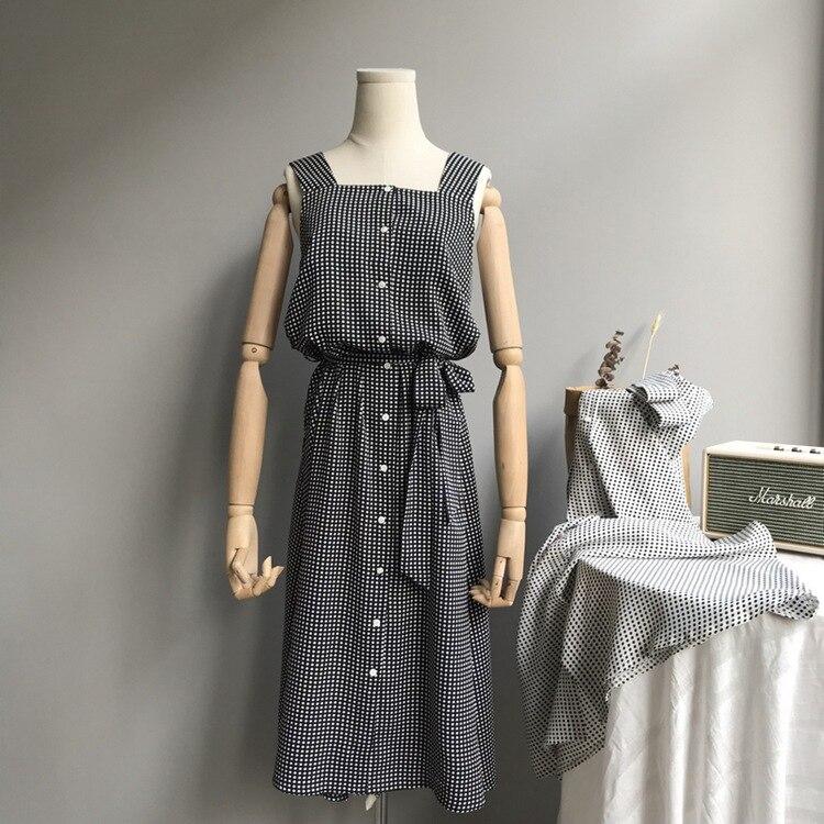 2018 Long Strap Dress Women Fashion Pokle Dot Tank Dress Sleeveless Summer High Casual Beach Dress Black Square Collar